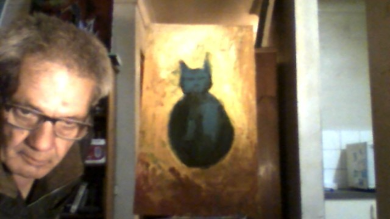 (CreativeWork) BLUE CAT by GIULIO IACOBINI. Oil Paint. Shop online at Bluethumb.