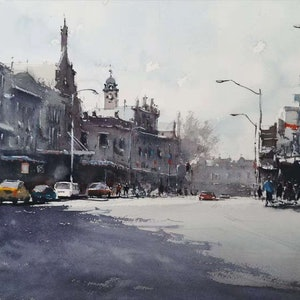 (CreativeWork) morning streets by jianqiang xu. watercolour. Shop online at Bluethumb.