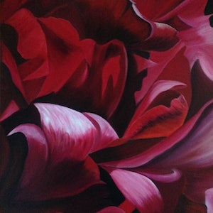 (CreativeWork) Red Fire by Sharon Lagden. arcylic-painting. Shop online at Bluethumb.