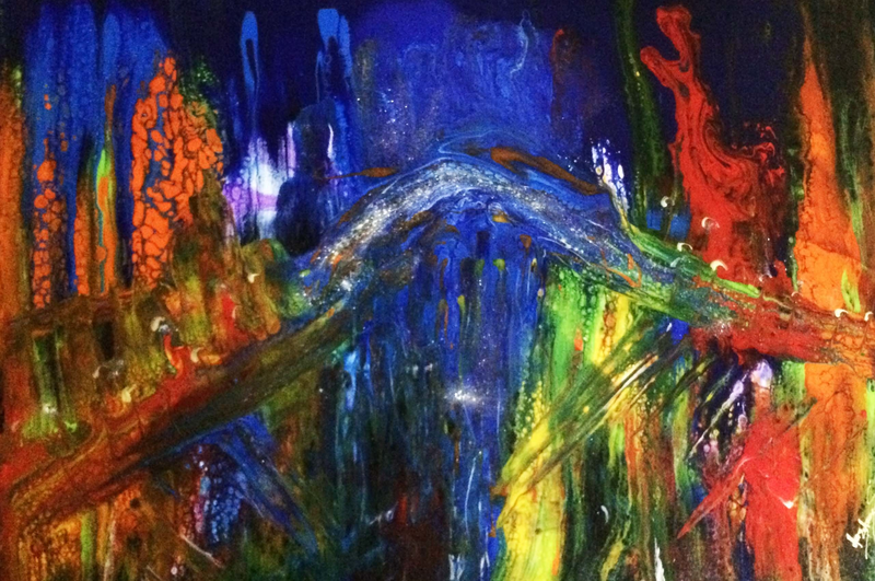 (CreativeWork) Southbank at Night - Melbourne (acrylic pour on stretched canvas)  by Margaret Morgan (Watkins). Acrylic Paint. Shop online at Bluethumb.