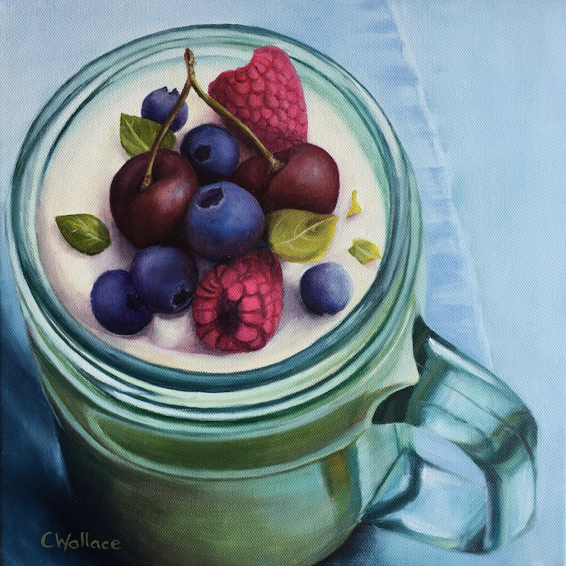 (CreativeWork) Summer Berries by Catherine Wallace. oil-painting. Shop online at Bluethumb.