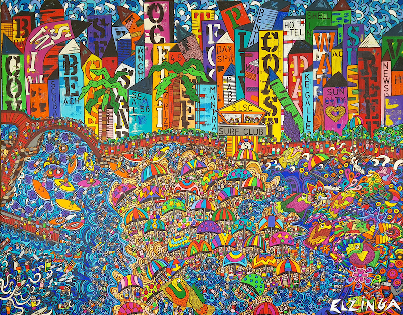 (CreativeWork) City by the bay XXL painting by Karen Elzinga by Karen Elzinga. arcylic-painting. Shop online at Bluethumb.