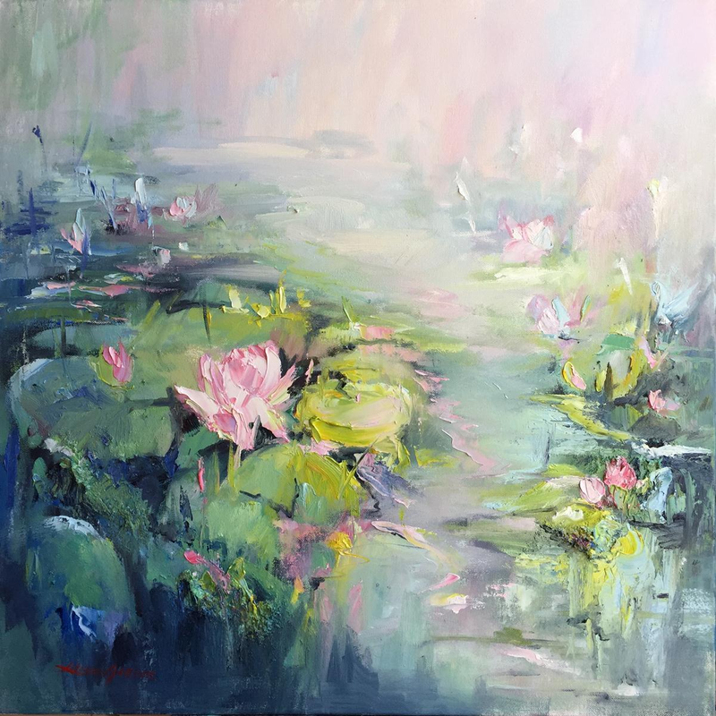 (CreativeWork) Water lillies  by Liliana Gigovic. oil-painting. Shop online at Bluethumb.