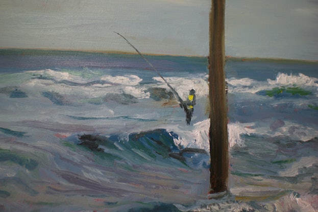 (CreativeWork) Three in search of fish, Mona Vale by fiona smith. Oil Paint. Shop online at Bluethumb.