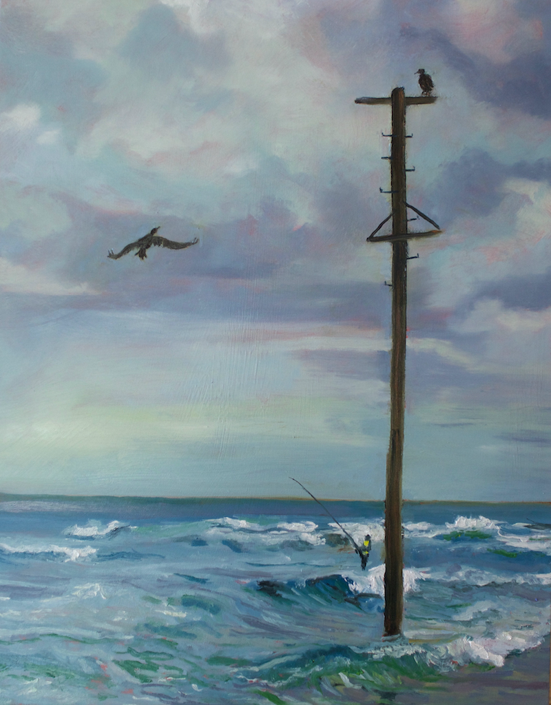 (CreativeWork) Three in search of fish, Mona Vale by fiona smith. oil-painting. Shop online at Bluethumb.