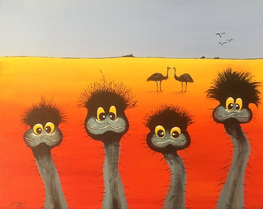 (CreativeWork) They are definitely Doreen and Brian's chicks by Geoff Lugg. Acrylic Paint. Shop online at Bluethumb.