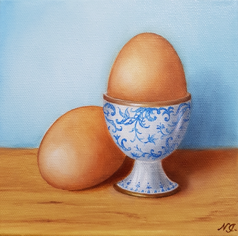 (CreativeWork) Egg cup - Still life oil painting by Natasha Junmanee. oil-painting. Shop online at Bluethumb.