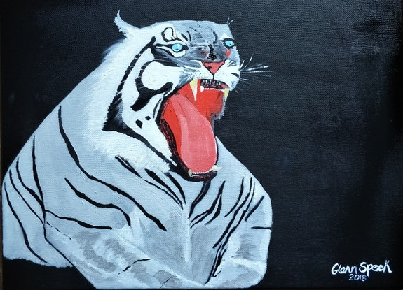(CreativeWork) White Tiger by GLENN SPECK. Oil Paint. Shop online at Bluethumb.
