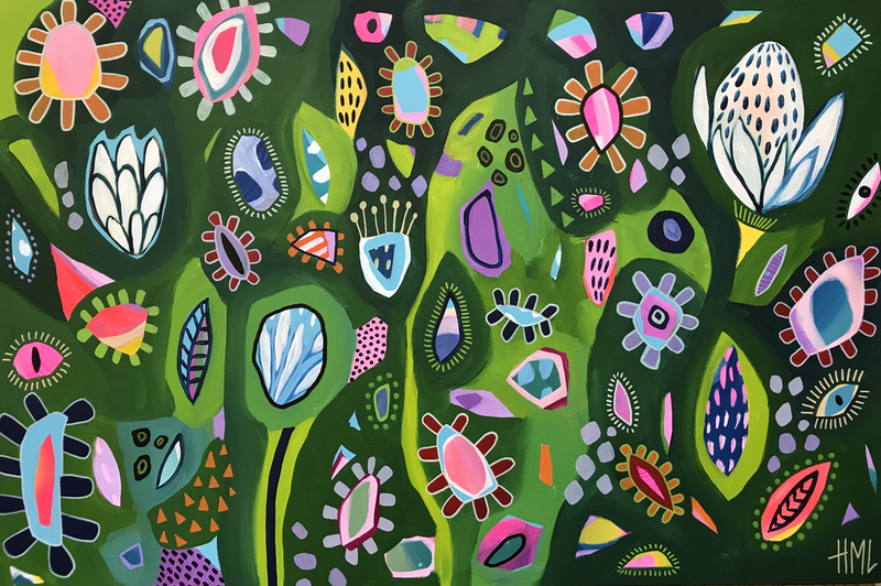 (CreativeWork) Green Dreams  by Hayley Mischief Lord. Acrylic Paint. Shop online at Bluethumb.
