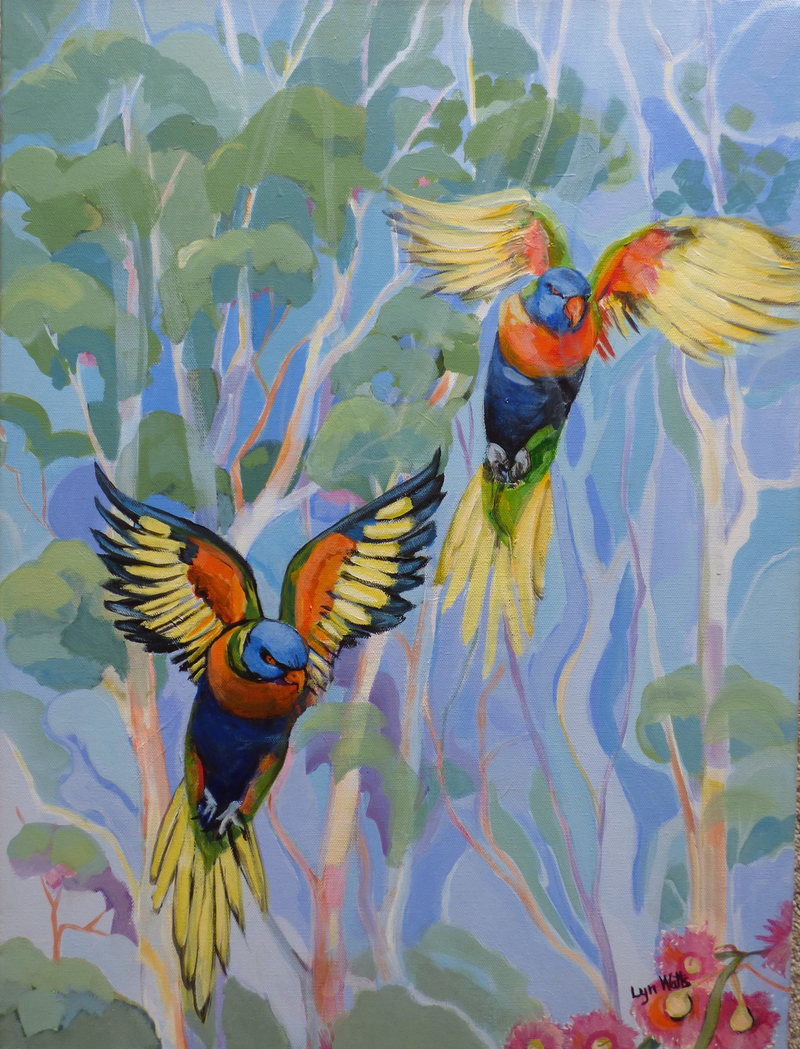 (CreativeWork) Looking for Blossoms by Lyn Watts. Acrylic Paint. Shop online at Bluethumb.
