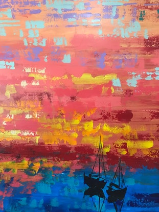 (CreativeWork) Sunset sailing by Maggie Deall. Acrylic Paint. Shop online at Bluethumb.