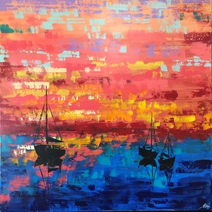 (CreativeWork) Sunset sailing by Maggie Deall. arcylic-painting. Shop online at Bluethumb.