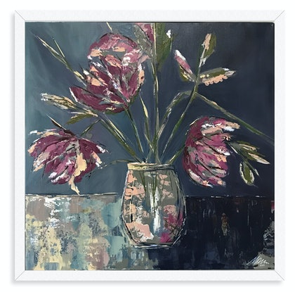 (CreativeWork) Mauve bouquet by Maggie Deall. Acrylic Paint. Shop online at Bluethumb.
