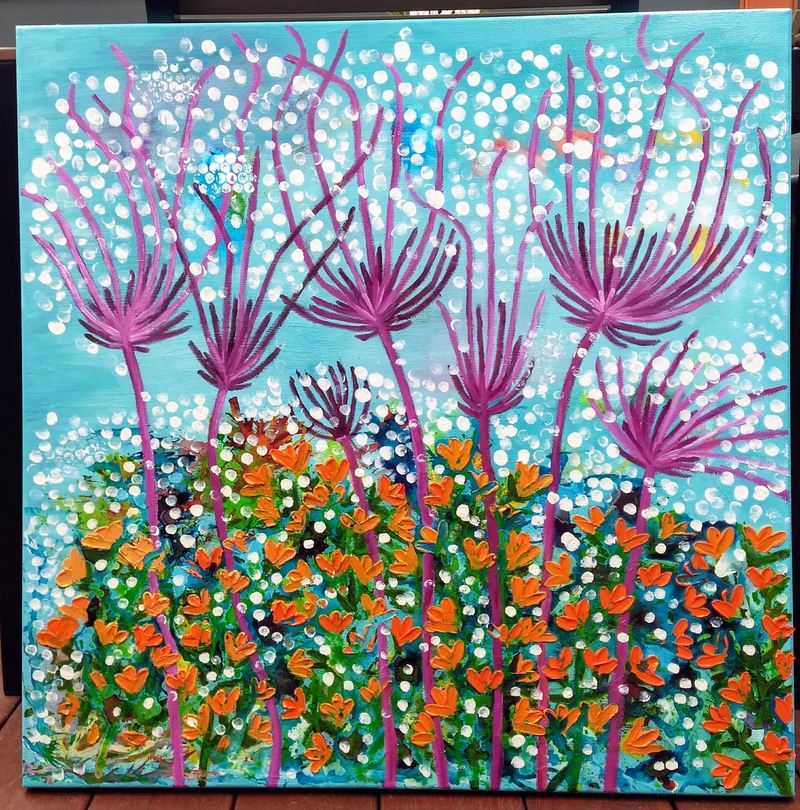 (CreativeWork) Floating Florals by Tracy Hocking. Mixed Media. Shop online at Bluethumb.
