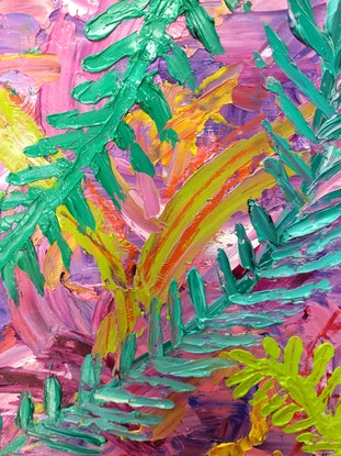 (CreativeWork) Distorted Rainforest by Tracy Hocking. Oil Paint. Shop online at Bluethumb.