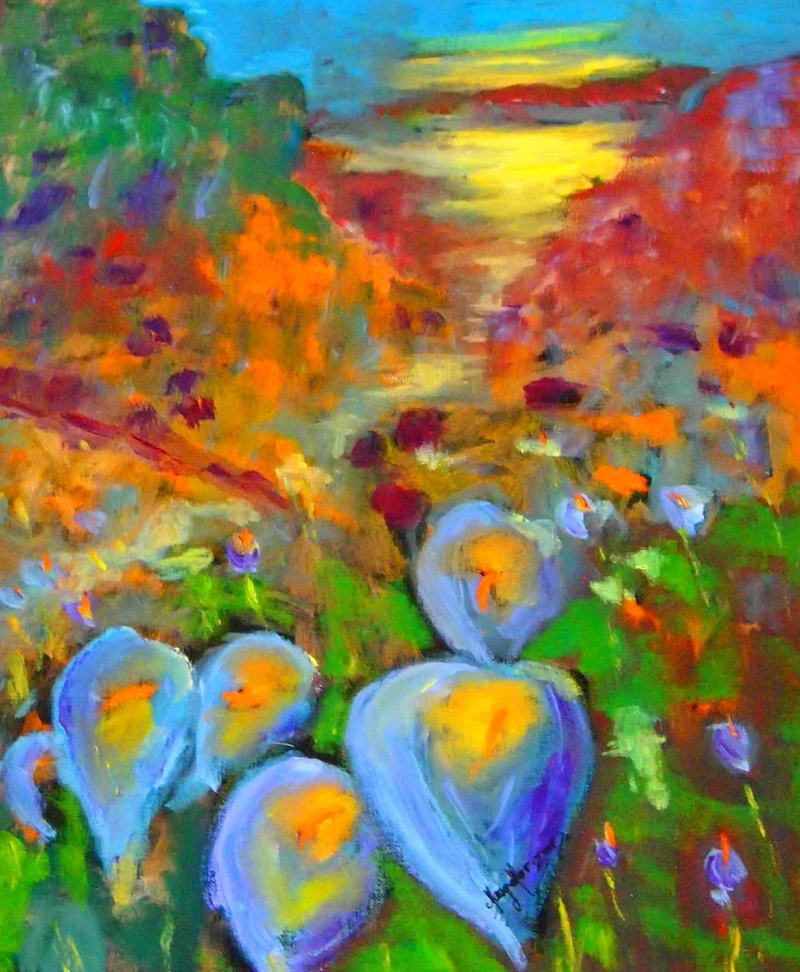 (CreativeWork) Lilies in the field   by Margaret Morgan (Watkins). Oil Paint. Shop online at Bluethumb.