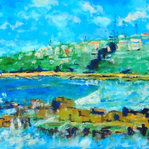(CreativeWork) Convent Beach Yamba Northern NSW (brown timber frame)  by Margaret Morgan (Watkins). oil-painting. Shop online at Bluethumb.