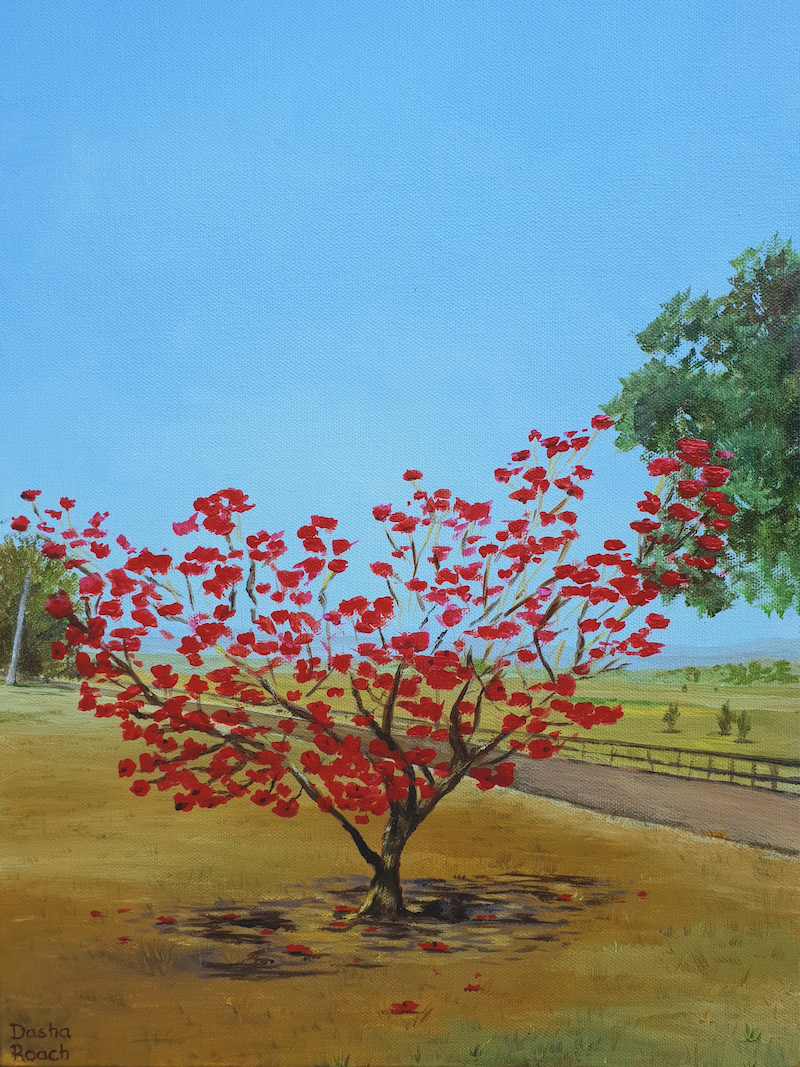 (CreativeWork) Red Tree by Dasha Roach. Acrylic Paint. Shop online at Bluethumb.