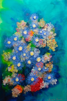 (CreativeWork) Soft Corals in the Tamar - Glover Prize entry Jan 2019 by Janelle Bowra. Acrylic Paint. Shop online at Bluethumb.