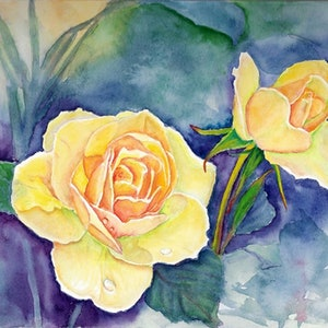 (CreativeWork) Fresh roses by Jing Tian. watercolour. Shop online at Bluethumb.