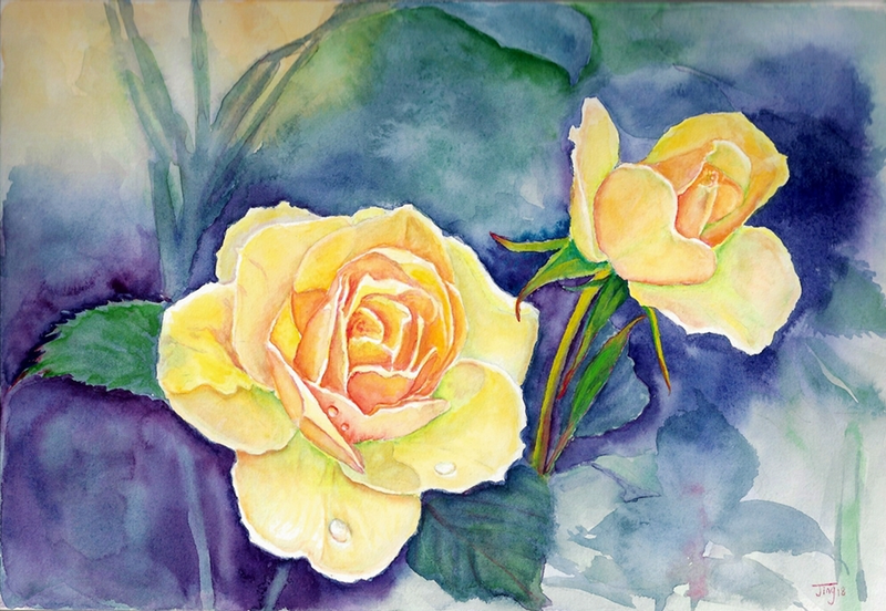 (CreativeWork) Fresh roses by Jing Tian. Watercolour Paint. Shop online at Bluethumb.