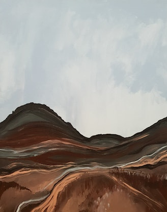 (CreativeWork) Around The Mountain by Andrea Edwards. Acrylic Paint. Shop online at Bluethumb.