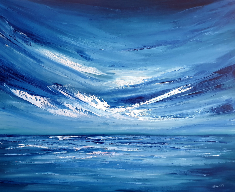 (CreativeWork) Take Me Where The Sky is Blue by Angela Hawkey. Oil Paint. Shop online at Bluethumb.