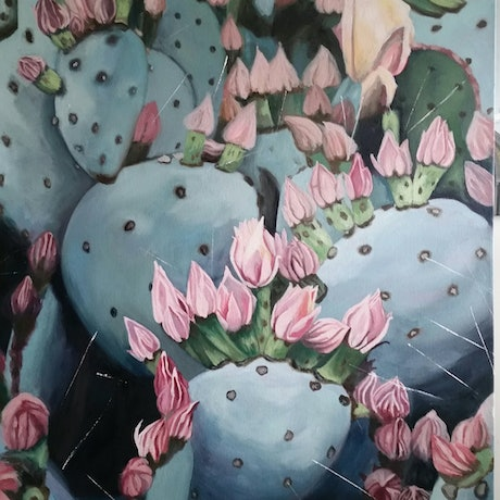 (CreativeWork) Cacti Dreaming by Stacy Gardoll. Oil Paint. Shop online at Bluethumb.