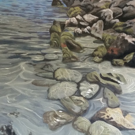 (CreativeWork) Seaside Meditation by Stacy Gardoll. Oil Paint. Shop online at Bluethumb.