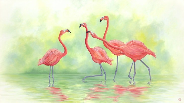 (CreativeWork) Pink Flamingos II - Original Oil Painting by Michelle Williamson. Oil Paint. Shop online at Bluethumb.