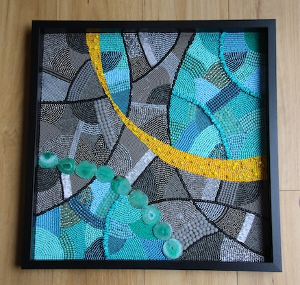 (CreativeWork) Follow Me Home - abstract mosaic wall art by Dana Abukasis. Other Media. Shop online at Bluethumb.