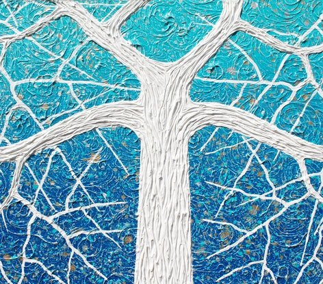 (CreativeWork) Tree - Beach Tree Ocean Swirls Abstract by Miranda Lloyd. Mixed Media. Shop online at Bluethumb.