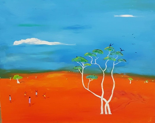 (CreativeWork) Ghost Gums  by Little Heath. Oil Paint. Shop online at Bluethumb.