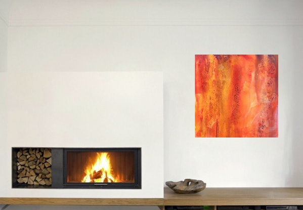 (CreativeWork) Fire Ball  by sue carter. Watercolour Paint. Shop online at Bluethumb.