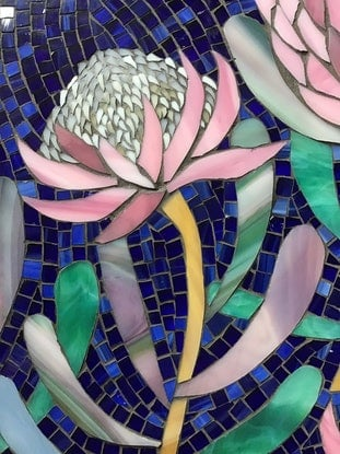 (CreativeWork) Protea in blue by Natalie Kouts. Other Media. Shop online at Bluethumb.