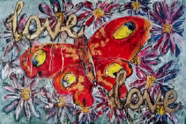 (CreativeWork) LOVE Root Chakra Red Butterfly by Leah Justyce  (BaVa). Oil Paint. Shop online at Bluethumb.