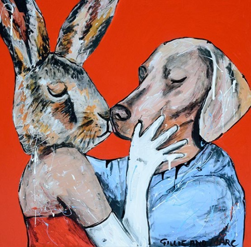 (CreativeWork) She thought, kiss me like it's our first kiss by Gillie and Marc Schattner. Print. Shop online at Bluethumb.