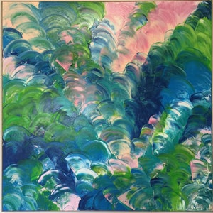(CreativeWork) Luminous Rhythm 2 by Rebecca Warr. oil-painting. Shop online at Bluethumb.