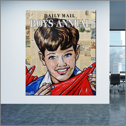 "(CreativeWork) ""Boy"" 120cm x 100cm (""Boys Annual from 1959"") vintage book on Canvas #no further framing need Pop art by _Franko _. Mixed Media. Shop online at Bluethumb."