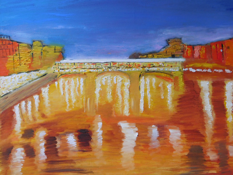 (CreativeWork) Ponte Vecchio by Alice Cherry. Acrylic Paint. Shop online at Bluethumb.