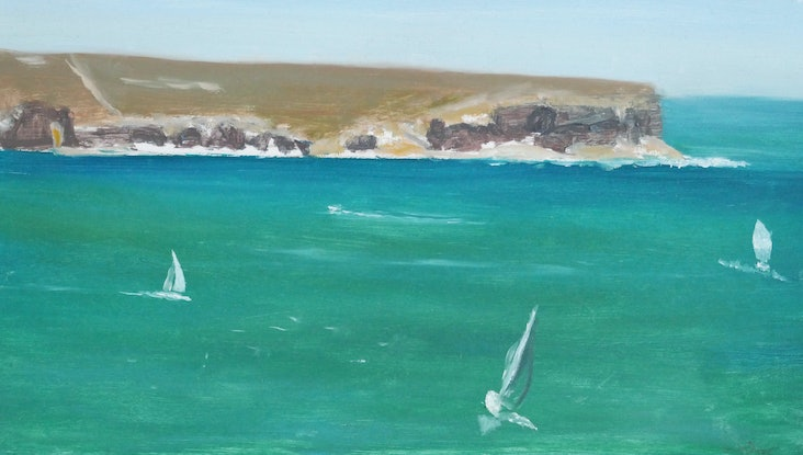 (CreativeWork) View of North Head by Ishbel Morag Miller. Oil Paint. Shop online at Bluethumb.
