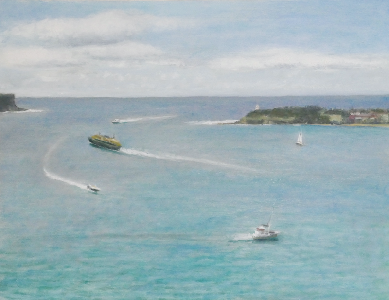 (CreativeWork) Landscape - Boats, Looking Across to North Head by Ishbel Morag Miller. Oil Paint. Shop online at Bluethumb.
