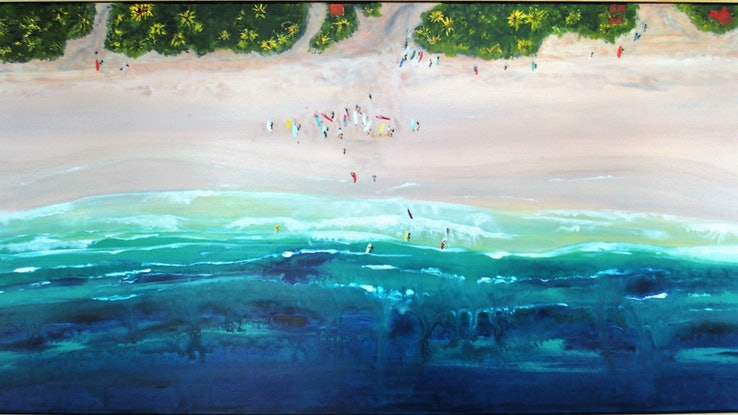(CreativeWork) Waiting for the Waves by Angela Wilson. Acrylic Paint. Shop online at Bluethumb.