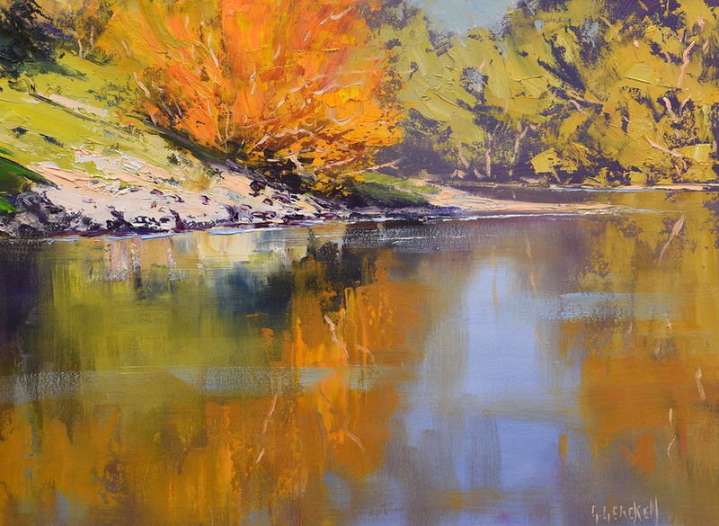 (CreativeWork) River Bank Reflections by Graham Gercken. Oil Paint. Shop online at Bluethumb.