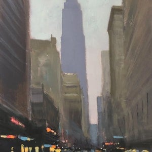 (CreativeWork) Empire State - New York's finest cityscape by Mike Barr. oil-painting. Shop online at Bluethumb.