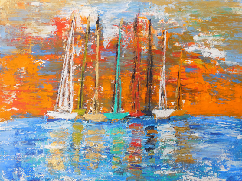 (CreativeWork) The Boats at Sunset by Alice Cherry. Mixed Media. Shop online at Bluethumb.