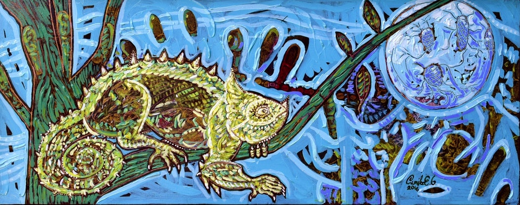 (CreativeWork) A lizard's night FRAMED by Camilo Esparza. Oil Paint. Shop online at Bluethumb.