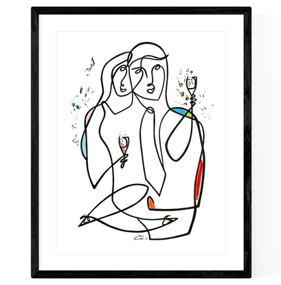 (CreativeWork) ' Party Lovers '   ◻ 43 x 53 x 1.6 by Chris Cox. Acrylic Paint. Shop online at Bluethumb.