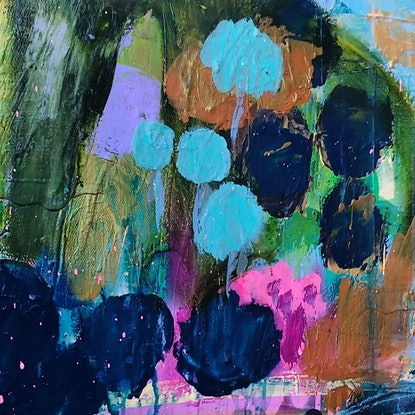 (CreativeWork) Cottage Gardens by Sandra Oost. Acrylic Paint. Shop online at Bluethumb.
