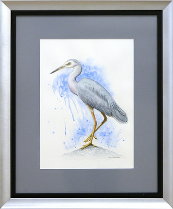 (CreativeWork) Blue Dream - [Framed] - White-Faced Heron watercolour painting by Nadya Neklioudova. Watercolour Paint. Shop online at Bluethumb.